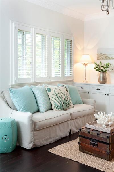 Coastal Chic Endearing Of Aqua and Cream Living Room Photos