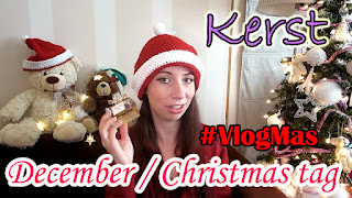 wearing a crochet christmas hat , written text kerst December Christmas tag #vlogmas