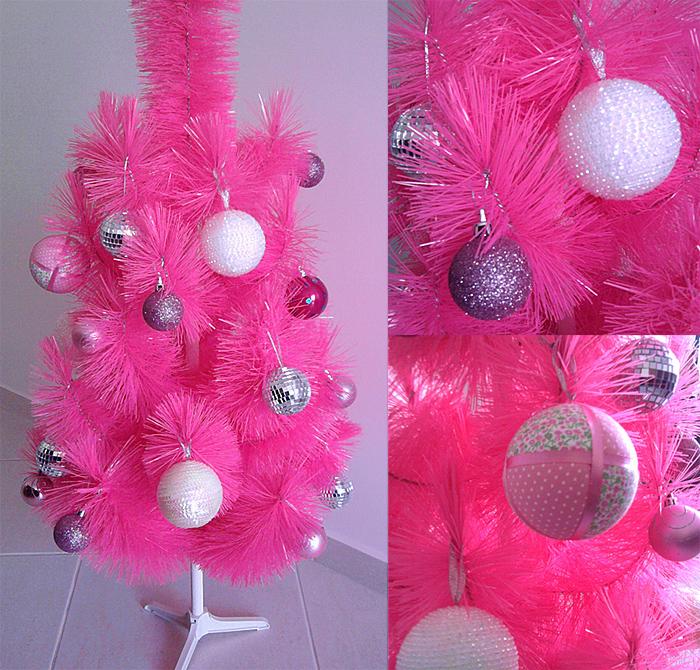 decoracao de arvore de natal rosa