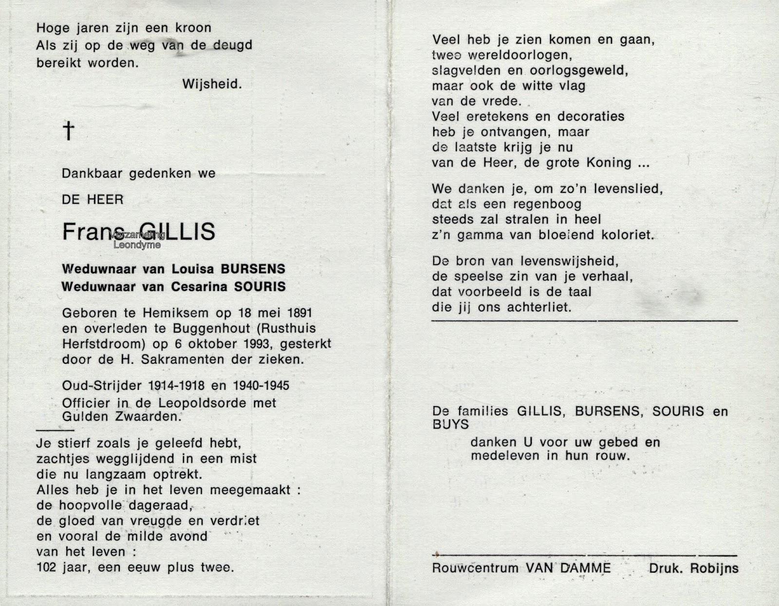 Bidprentje, oud-strijder/vuurkruiser Gillis Frans 1891-1993. Verzameling Leondyme