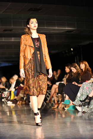 ecofashion week value village thrift chic show, posing in vintage, thrift chic fall looks, leather jacket, floral skirt and leopard top