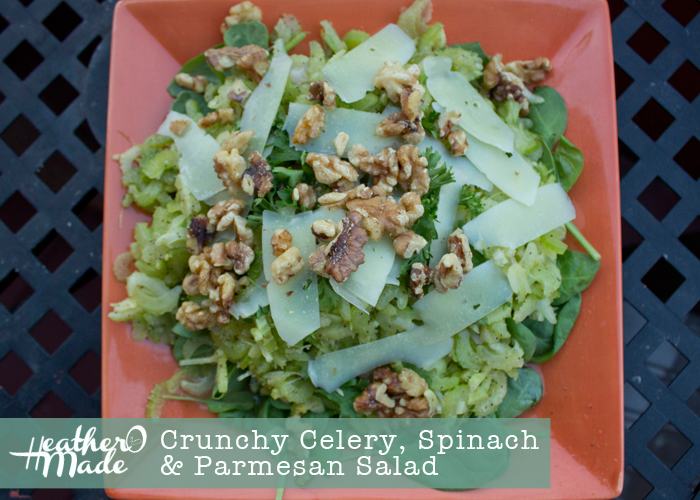 Crunch Celery, Spinach and Parmesan Salad. recipe.