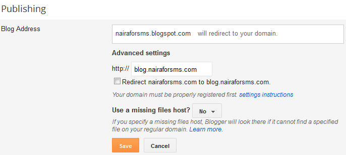 Blogger subdomain settings