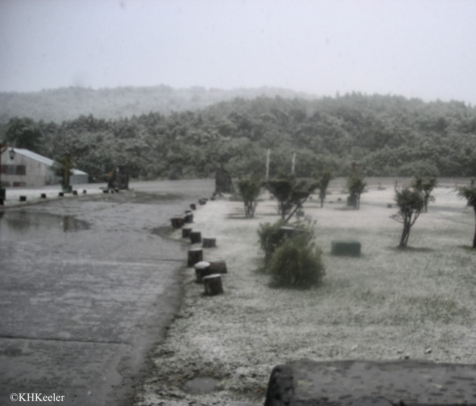 Rain mixed with snow, spring in Ushuia
