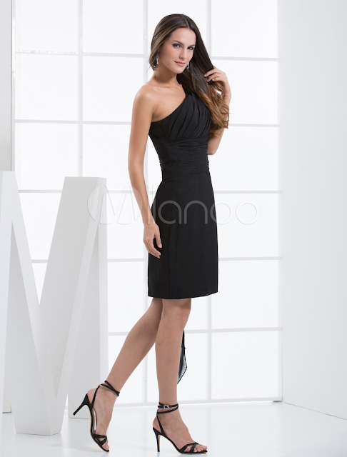 China Wholesale Clothes - Black Sheath One-Shoulder Chiffon Cocktail Dress Cocktail Dress