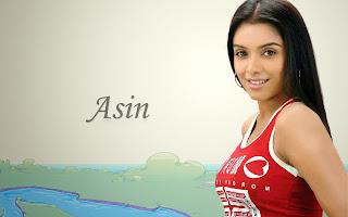 Asin Thottumkal in red t-shirt hot and sexy wallpapers
