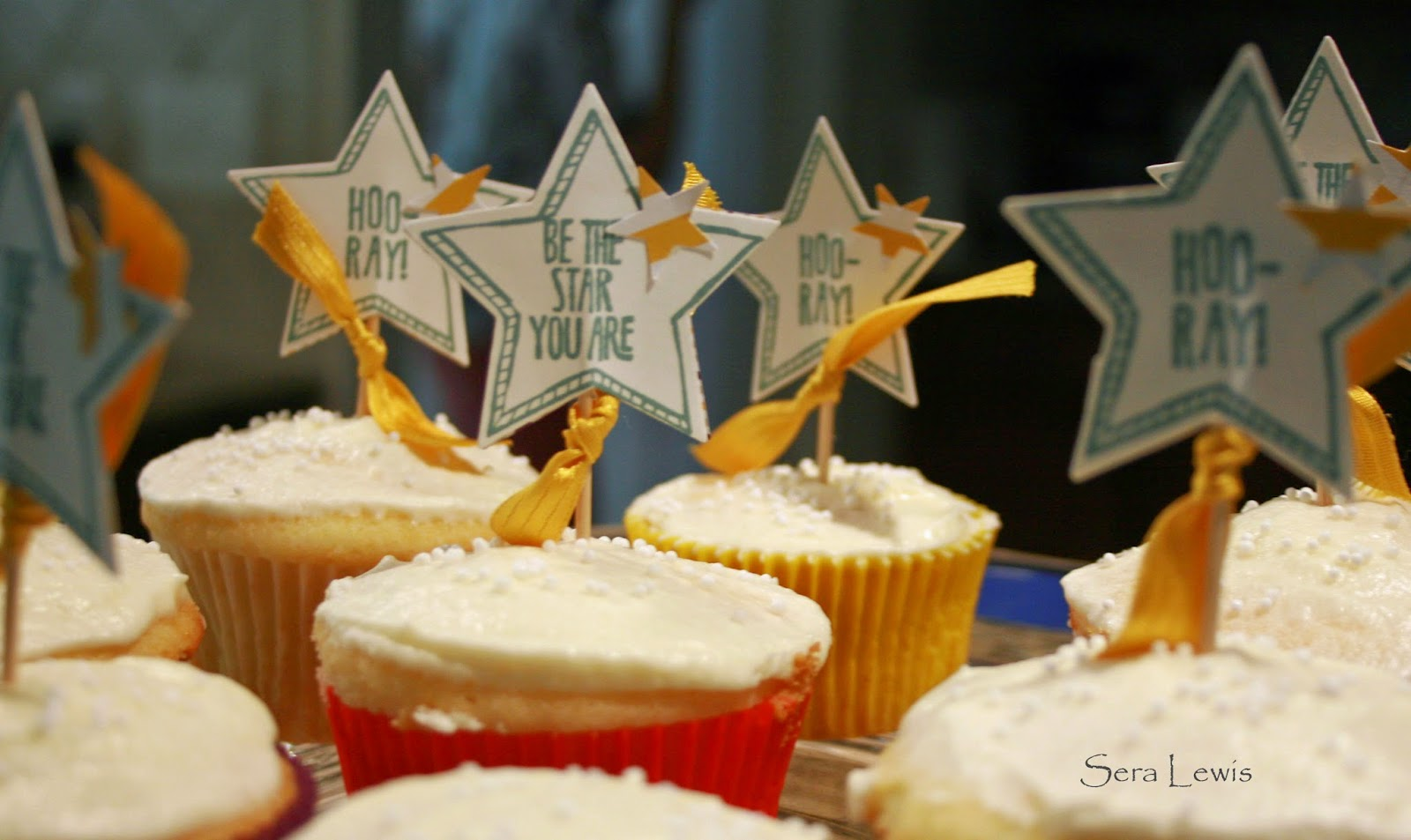 Stampin' Up! Be the Star cupcakes picks