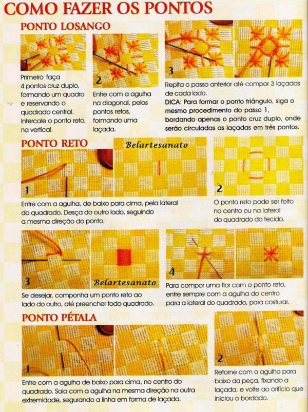 Como fazer os pontos para bordar tecido xadres