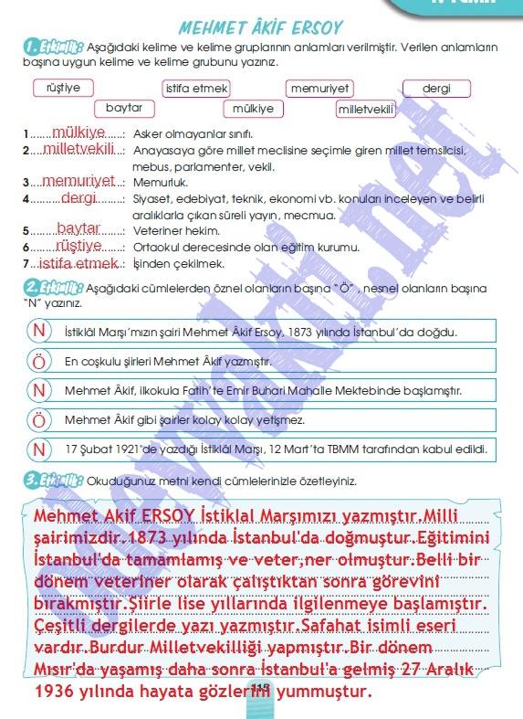 Sınıf MEB Yayınları Türkçe Çalışma Kitabı Cevapları Sayfa