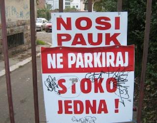 smešne slike: ne parkiraj nosi pauk stoko