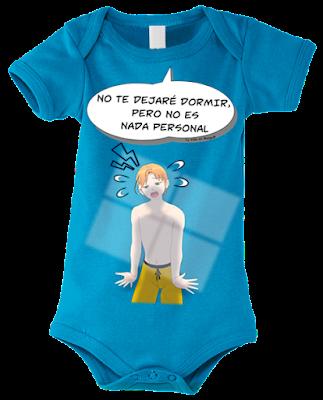 """Body para bebés """"No dormirás papá"""" color azul"""
