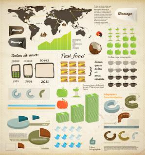 インフォグラフィックスの図案素材 business infographics elements イラスト素材