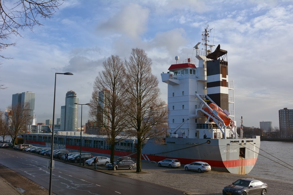 Cargo ship on the Nieuwe Maas