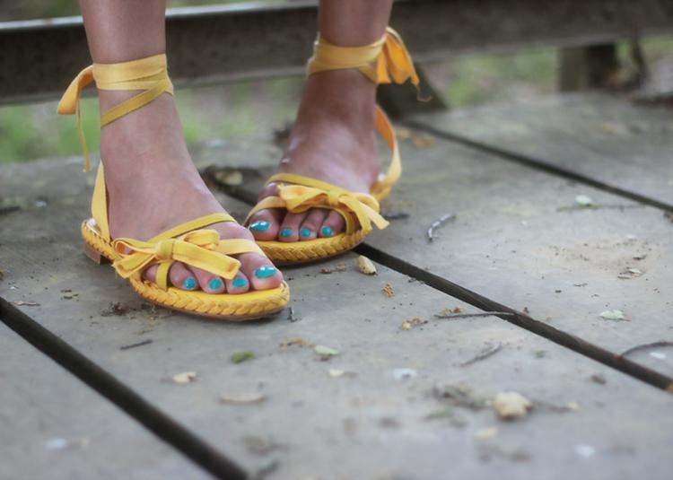 Dior yellow wraparound flat espadrilles