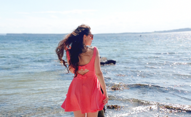 Pepa Loves coral dress outfit post blogger