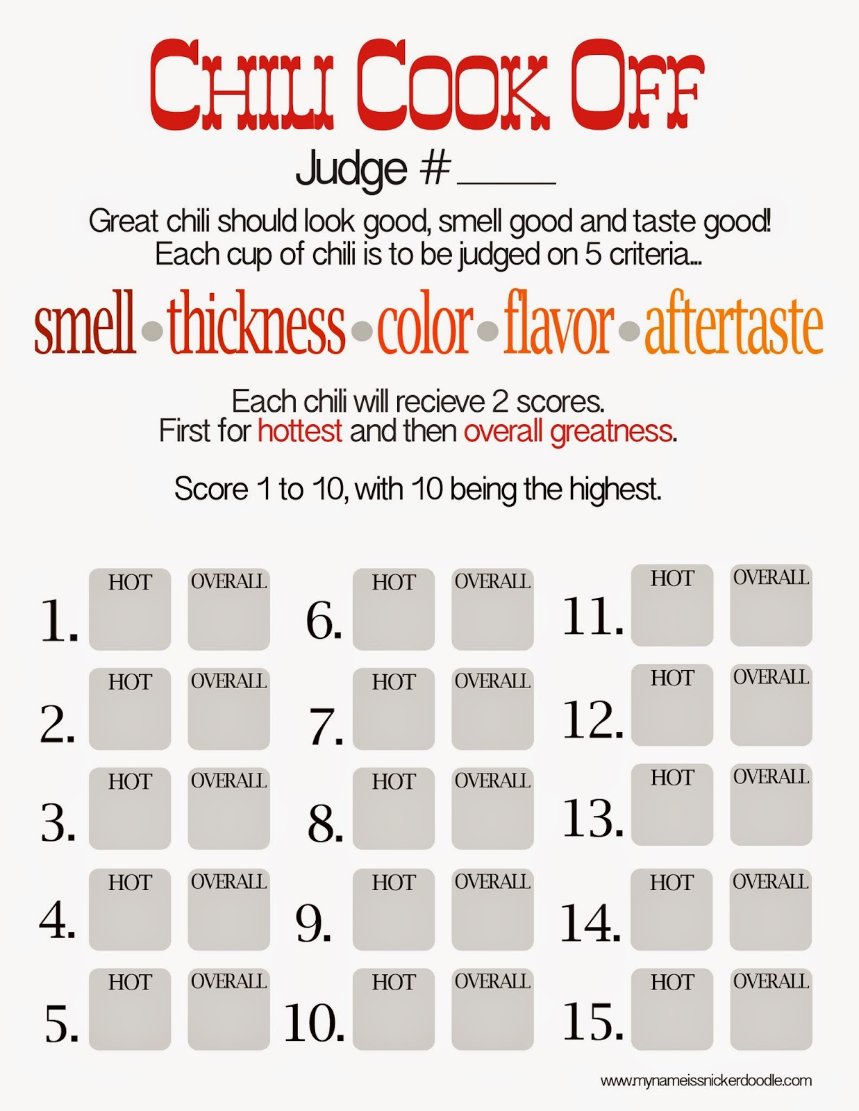 The perfect Chili Cook Off Score Sheet | My Name Is Snickerdoodle