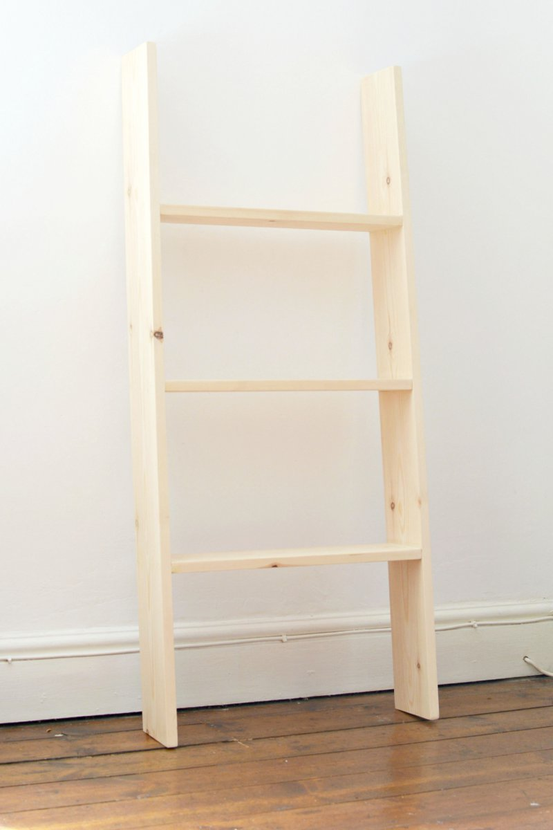 diy ladder shelf burkatron. Black Bedroom Furniture Sets. Home Design Ideas