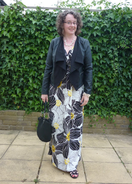 Floral Maxi Dress with Faux Leather Jacket