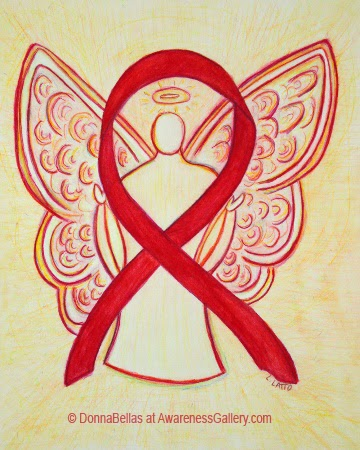 Red Awareness Ribbon Angel Guardian Art Original Painting