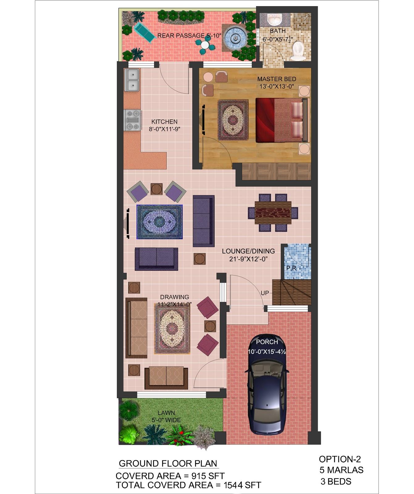5 Marla House Plan Elevation Architecture Design: Casatreschic Interior: 5 Marla Front Elevation & Plan 2