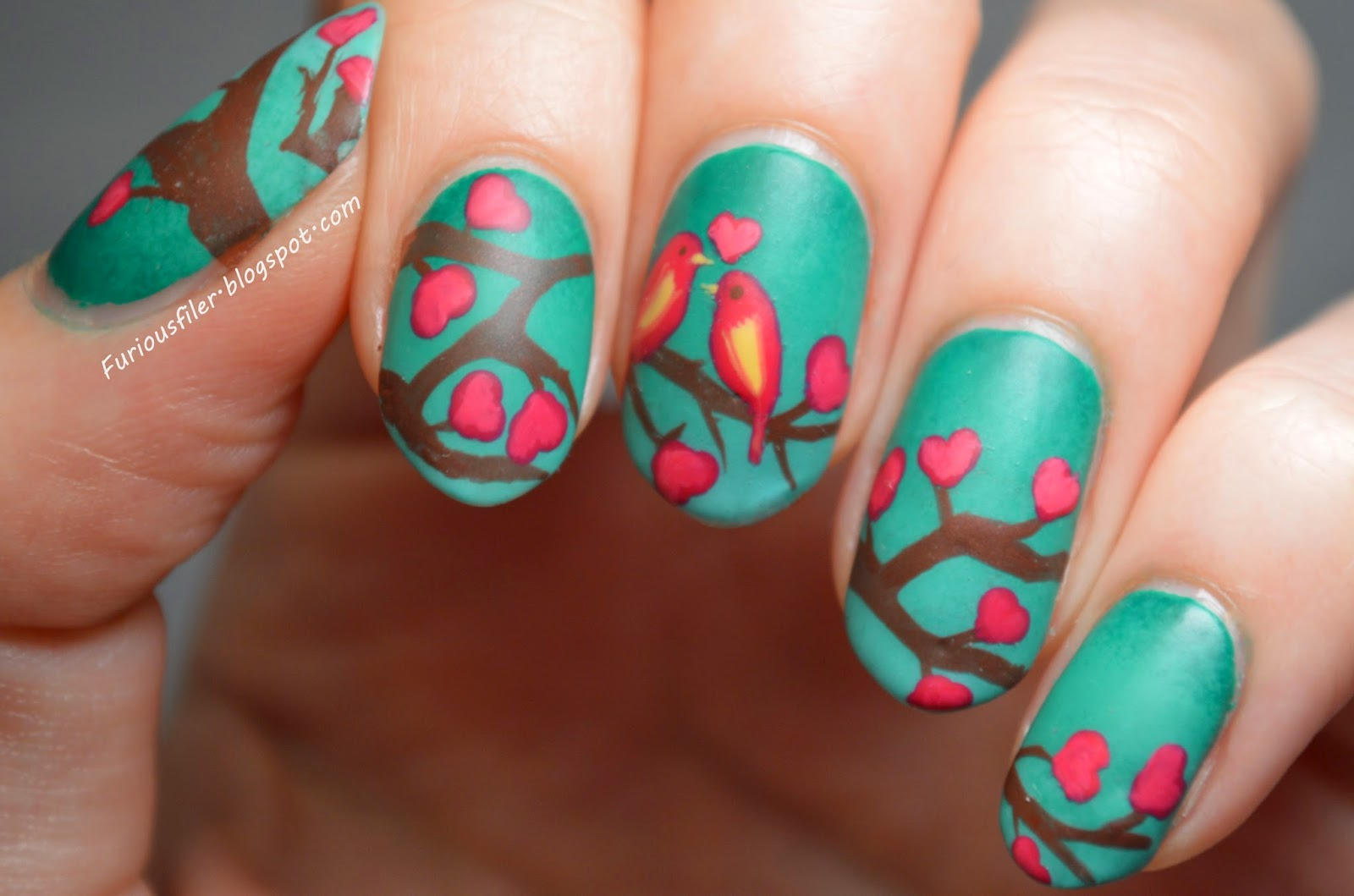 birds hearts branches ombre valentine's MoYou