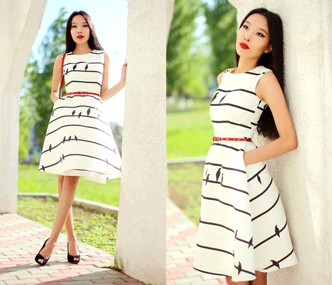 Chic Wish 2015 SS Sing a Love Song Printed Dress in Stripes