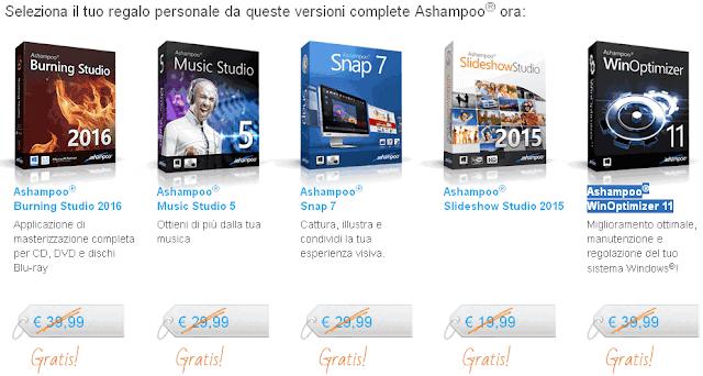 Promozione Natale 2015 5 programmi Ashampoo gratis
