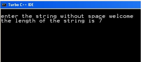 Write a program to find a length of string without using any built in function