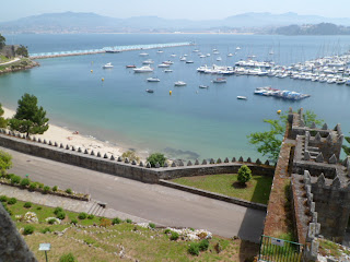 Baiona port and view from Monterreal Fort