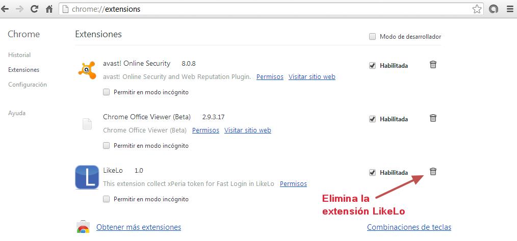 Eliminar extensión Likelo en Chrome