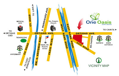 One Oasis Ortigas Location Map, Condominium for sale in Ortigas, Filinvest