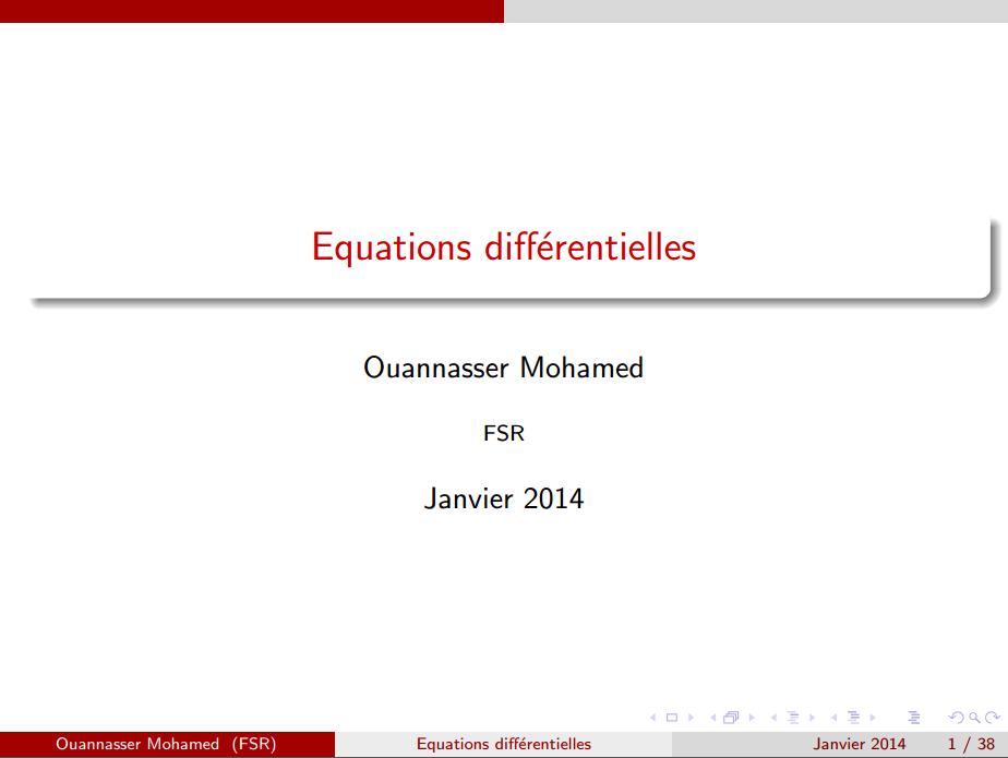 cours Les Equations différentielles smpc s2