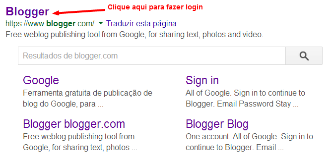 como fazer login no blogger blogspot