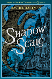 Cover art for Shadow Scale, featuring a woodcut of a dragon in flight near a steeply hilled city. The cover is tinted blue.