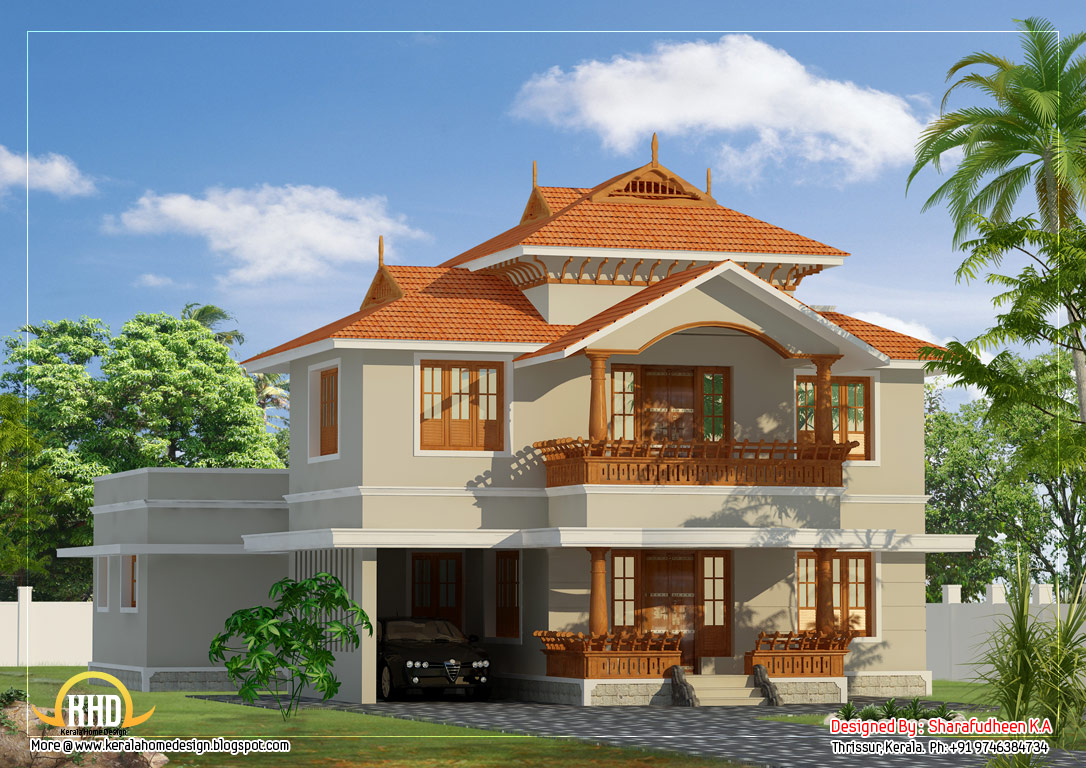 Beautiful kerala style duplex home design 2633 sq ft for Types of duplex houses