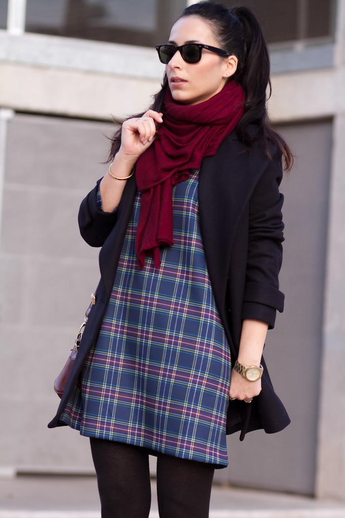 Fashion blogger Withorwithoutshoes in Tartan Dress by Front Row Shop