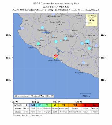 Epicentro sismo 5,9 grados, México, 22 de Abril de 2013