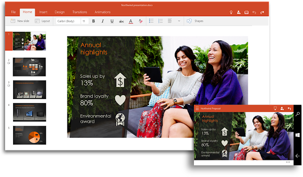 Microsoft PowerPoint Touch for Windows 10