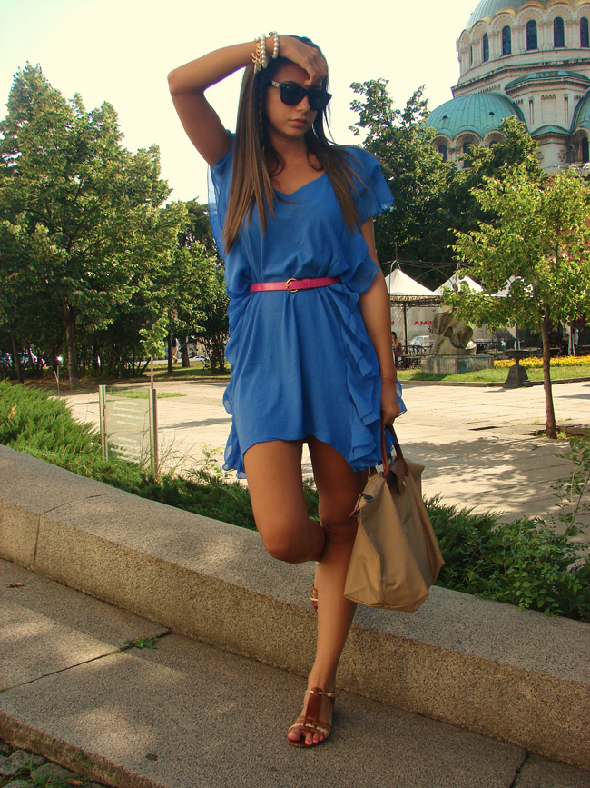 h&m garden collection blue frills dress, ralph lauren brown gladiator sandals, hair braid, lauren conrad style braid blog, lauren conrad hairstyle, i heart maya, iheartmaya blog