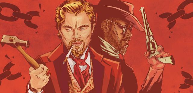 Django Unchained art illustration Leonardo Dicprio Calvin Candie Jamie Fox Quentin Tarantino