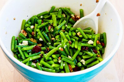 Thanksgiving Green Bean Salad Recipe with Blue Cheese, Dried Cranberries, and Pecans [found on KalynsKitchen.com]