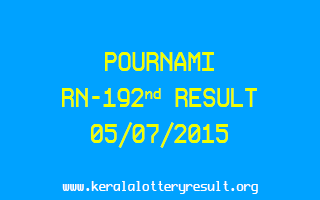 POURNAMI RN 192 Lottery Result 5-7-2015