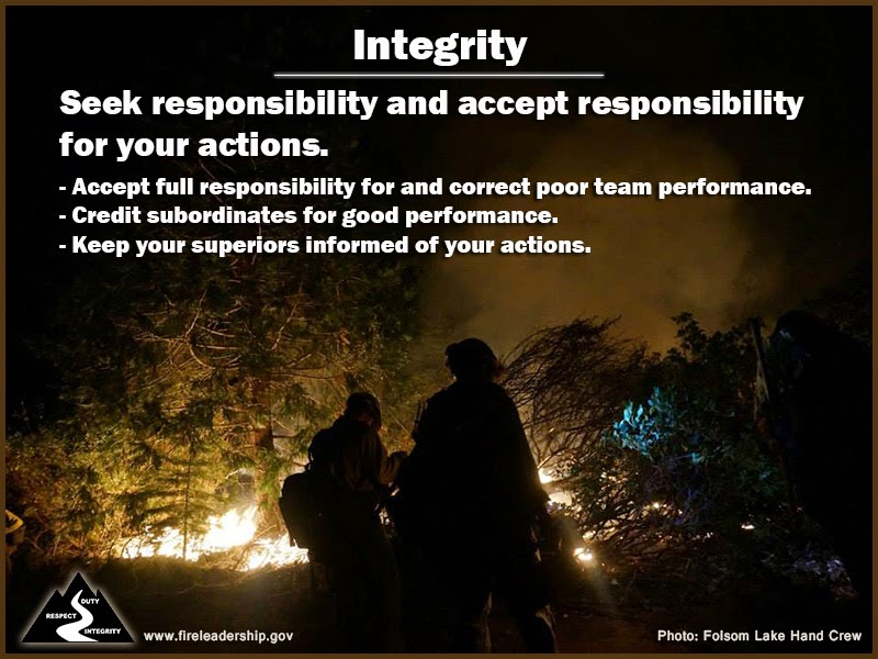 Integrity Seek responsibility and accept responsibility for your actions. - Accept full responsibility for and correct poor team performance. - Credit subordinates for good performance. - Keep your superiors informed of your actions.