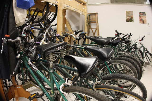 Inside the Bike Library and Workshop