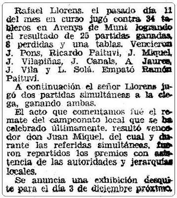 Recorte de Mundo Deportivo del 24 de noviembre de 1944 sobre Rafael Llorens