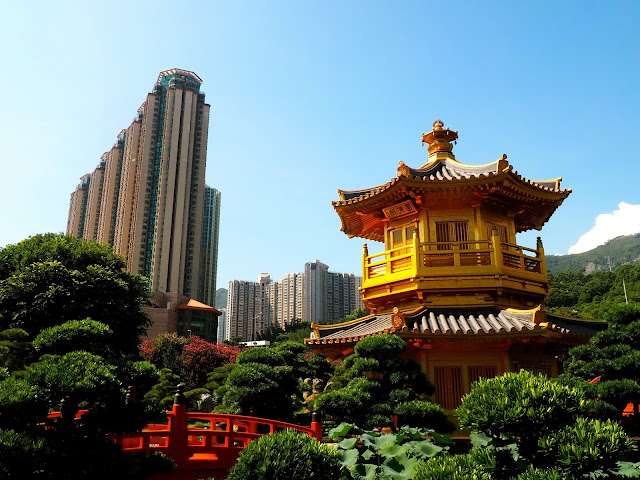 Chinese pavilion with skyscrapers in the background, in Nan Lian Gardens, Kowloon, Hong Kong