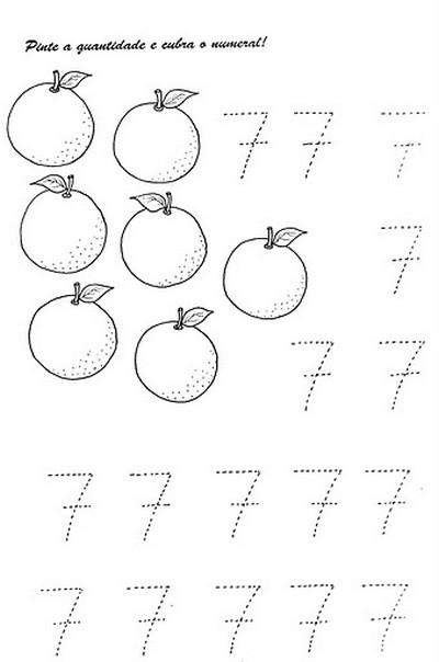 ATIVIDADES COM NUMERAIS - NÚMEROS PARA COBRIR E COLORIR NUMEROS+1+A+10+COBRIR+E+COLORIR+N+7