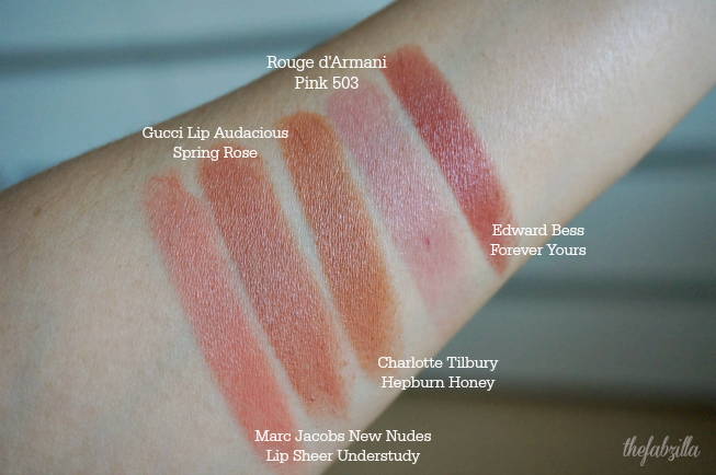 Top Neutral Lipsticks, Best Nude Lipsticks, Review, Swatch, Marc Jacobs New Nude Lip Shee Understudy, Gucci Audacious Lipstick Spring Rose, Charlotte Tilbury Hepburn Honey, Rouge d'Armani Pink 503, Edward Bess Forever Yours