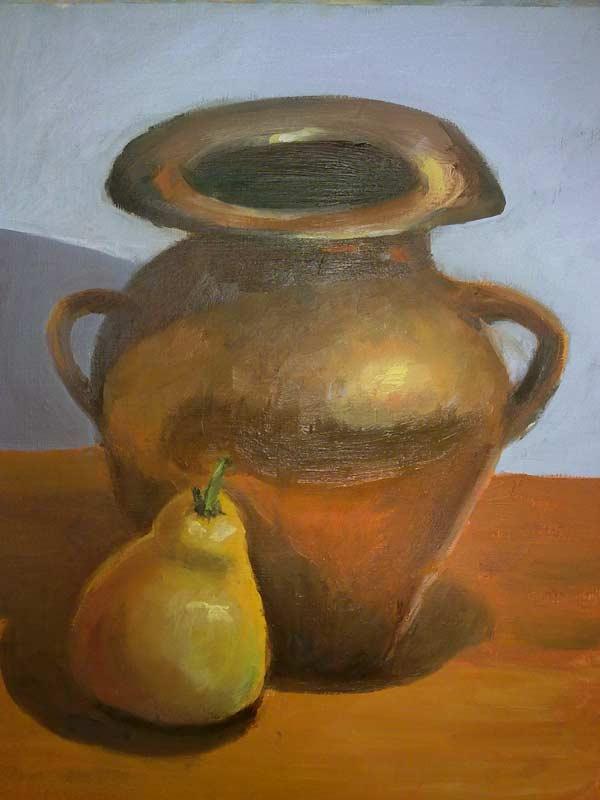 jarron con fruta pintado al oleo