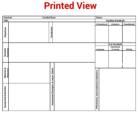 ... Common Core K - 5 ELA Reading Lesson Plan Template Drop Down Standards